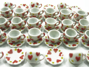 Heart Coffee Cup Saucer Scallop Plate Dollhouse Miniature Ceramic #S