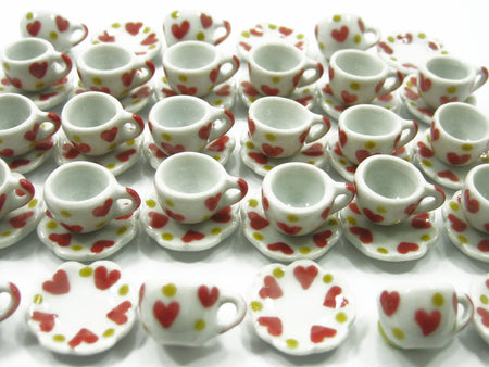 10x Red Yellow Heart Ceramic Mug Cup Dollhouse Miniature Tableware Wholesale Lot
