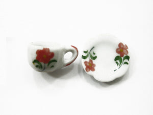 Dolls House Miniature Ceramic 24/48 Flower Tea Cup Saucer Scallop Plate #M 3898