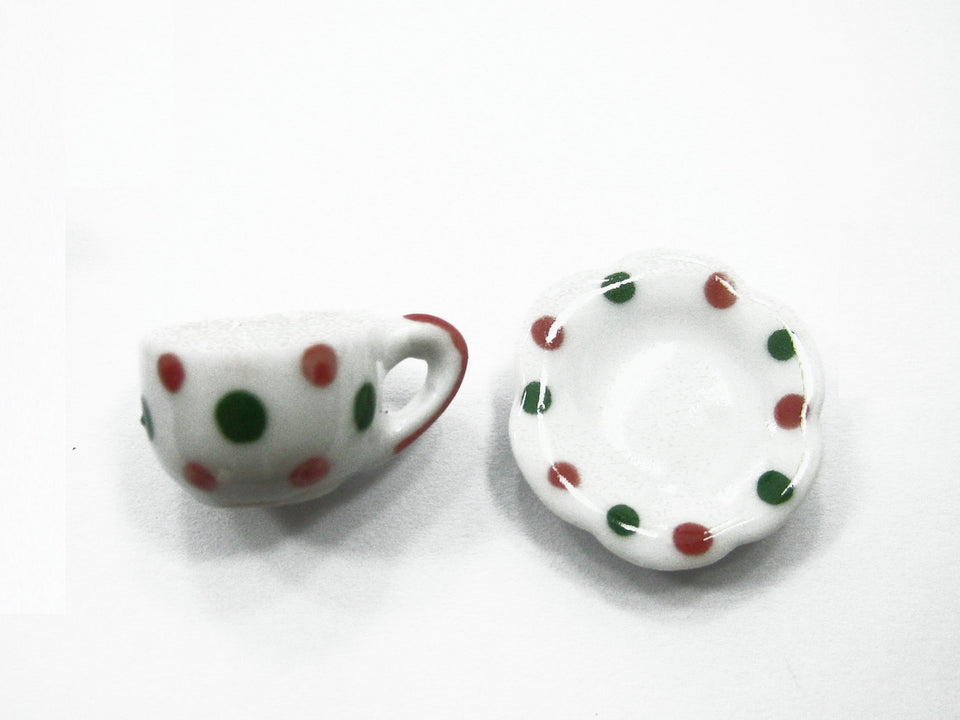 24/48 XMAS Cup Saucer Scallop Plate Dolls House Miniature Ceramic Paint #M 3899
