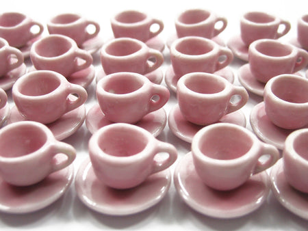 Dollhouse Miniature Pink Ceramic Coffee Tea Cup Saucer Round Plate #S