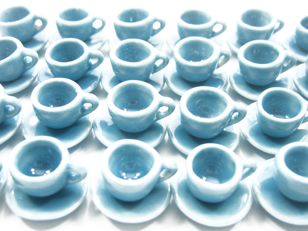 Dollhouse Miniature Blue Ceramic 24/48 Coffee Tea Cup Saucer Round Plate #S 4040