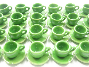 Dollhouse Miniature Green Ceramic 24/48 Coffee Cup Saucer Round Plate #S 4041