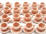 Dollhouse Miniature Salmon Ceramic 24/48 Coffee Cup Saucer Round Plate #S 4042