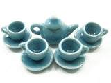 4/9 Blue Teapot Tea Cup Saucer Round Plate Doll house Miniature Ceramic #S 4046