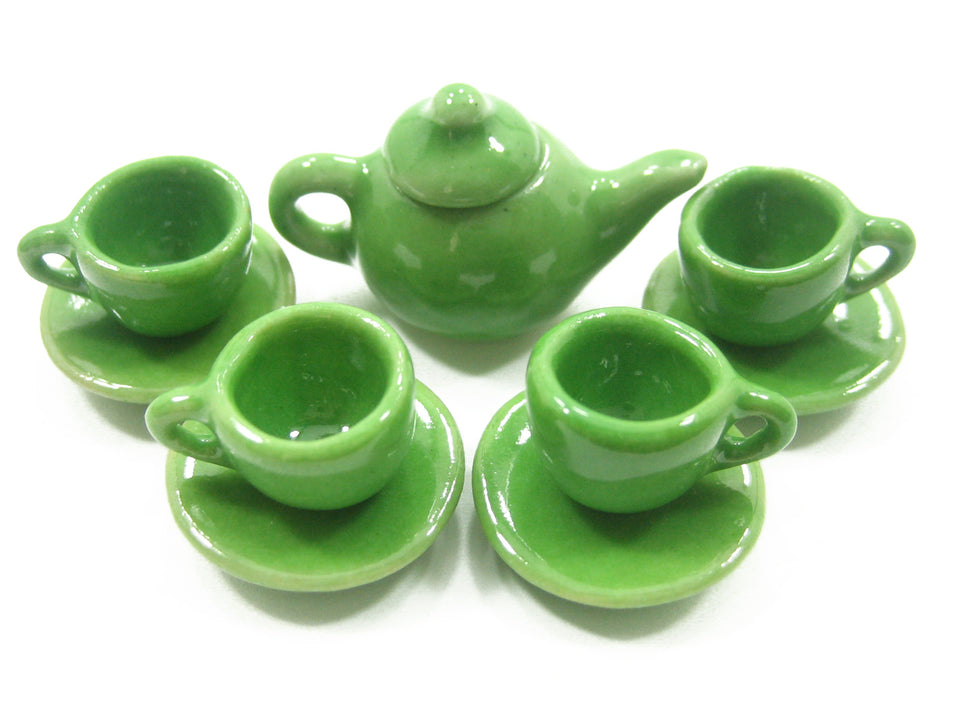 4/9 Green Teapot Tea Cup Saucer Round Plate Dollhouse Miniature Ceramic #S 4047