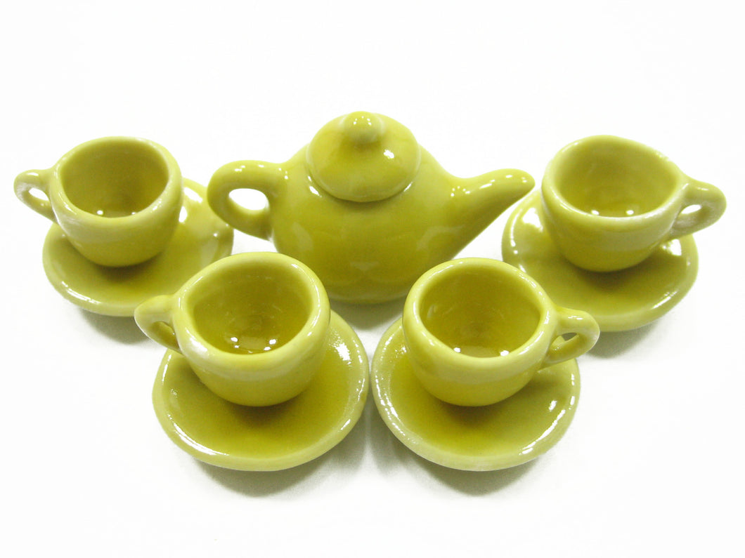 4/9 Yellow Teapot Tea Cup Saucer Round Plate Dollhouse Miniature Ceramic #S 4049