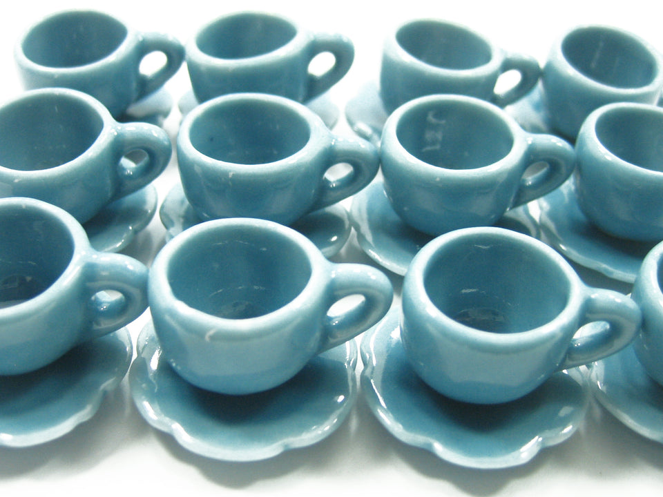 Dollhouse Miniature Ceramic Blue Coffee Cup Saucer Scallop Plate #M