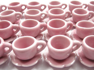 Dollshouse Miniature Ceramic Pink Coffee Cup Saucer Scallop Plate #M