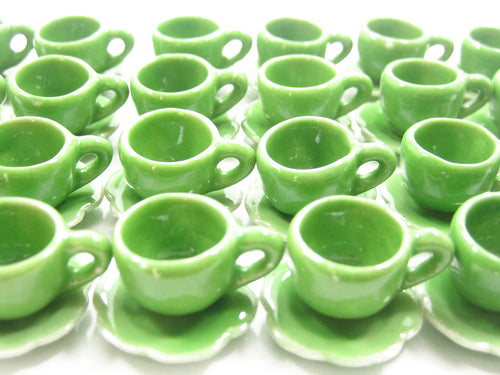 Dollhouse Miniature Ceramic Green Coffee Cup Saucer Scallop Plate #M