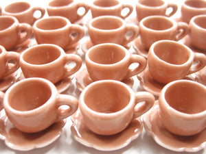 Dollhouse Miniature Ceramic Salmon Coffee Cup Saucer Scallop Plate #M