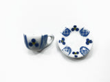 Dollhouse Miniature Ceramic 24/48 Blue Paint Tea Cup Saucer Round Plate #M 4067