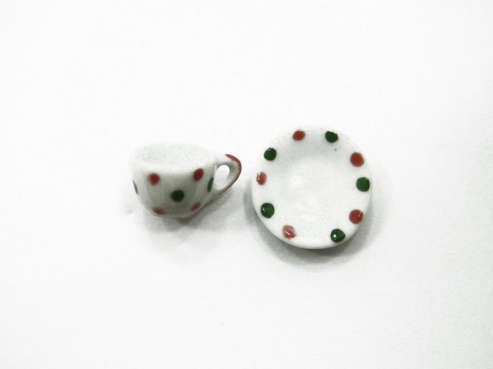 Dollhouse Miniature Ceramic 24/48 XMAS Coffee Tea Cup Saucer Round Plate #S 4069