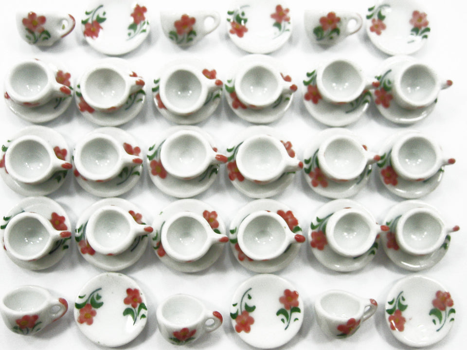 Dollhouse Miniature Ceramic 24/48 Flower Paint Cup Saucer Round Plate #S 4070
