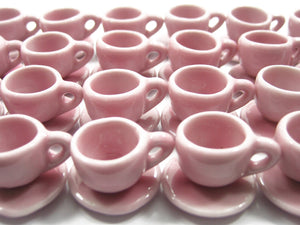 Dollhouse Miniature Ceramic Pink Coffee Tea Cup Saucer Round Plate #M