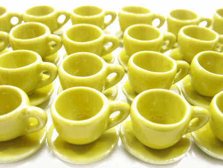 Dollhouse Miniature Ceramic Yellow Coffee Cup Saucer Round Plate #M
