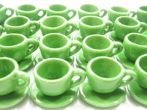 Dollhouse Miniature Ceramic Green Coffee Cup Saucer Round Plate #M