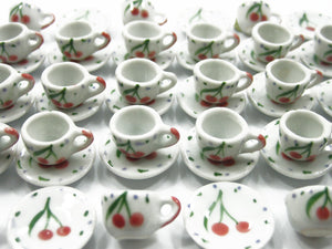 Dollhouse Miniature Ceramic 24/48 CHERRY Coffee Cup Saucer Round Plate #S 4225