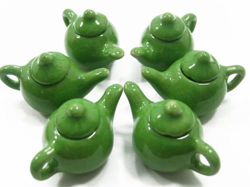 Dollhouse Miniature Kitchen Ceramic 6 Green Teapot Coffee Charms Supply 4229