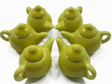 Dollhouse Miniature Kitchen Ceramic 6 Yellow Teapot Coffee Charms Supply 4230