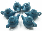 Dollhouse Miniature Kitchen Ceramic 6 Blue Color Teapots Coffee Supply 4231