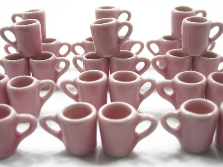 Set Coffee Tea Pink FUNNEL Mugs Cups Dollhouse Miniature Ceramic Supply