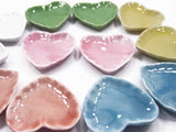 Dollhouse Miniature Ceramic Mixed Color Heart Plates 35mm Dishes Supply
