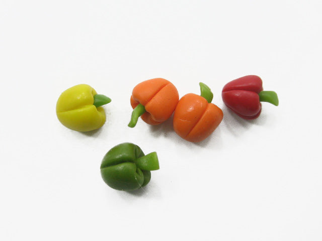 Dollhouse Miniature Food Lot Loose Mixed Bell Peppers Paprika Vegetable