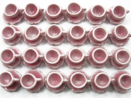 Dollhouse Miniature Ceramic Pink Coffee Cup Saucer Scallop Plate #S