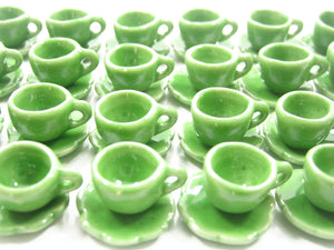 Dollhouse Miniature Ceramic 24/48 Green Coffee Cup Saucer Scallop Plate #S 4415