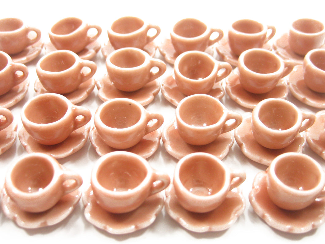 Dollhouse Miniature Ceramic 24/48 Salmon Coffee Cup Saucer Scallop Plate #S 4416