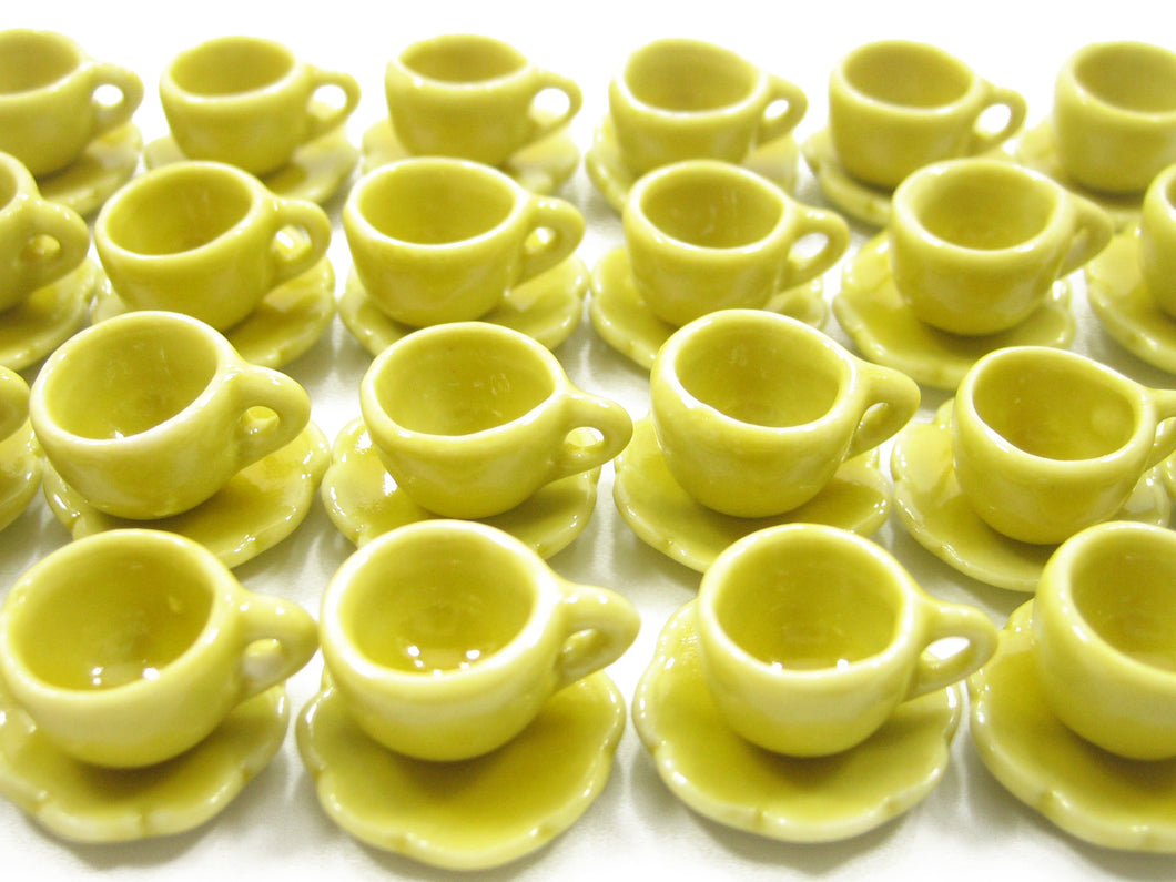 Dollhouse Miniature Ceramic 24/48 Yellow Coffee Cup Saucer Scallop Plate #S 4417