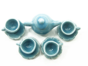 Dollhouse Miniature Ceramic 4/9 Blue Teapot Tea Cup Saucer Scallop Plate #S 4420