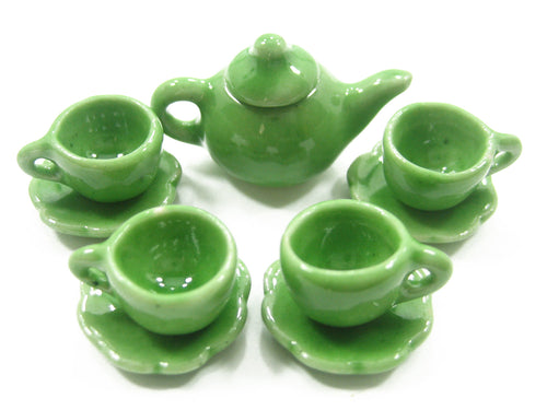 Dollhouse Miniature Ceramic 4/9 Green Teapot Cup Saucer Scallop Plate #S 4421