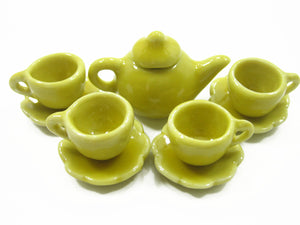 Dolls House Miniature Ceramic 4/9 Yellow Teapot Cup Saucer Scallop Plate #S 4423