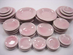 Dollhouse Miniature Kitchen Supply Ceramic 36 Mixed Plates Dish Pink 5085