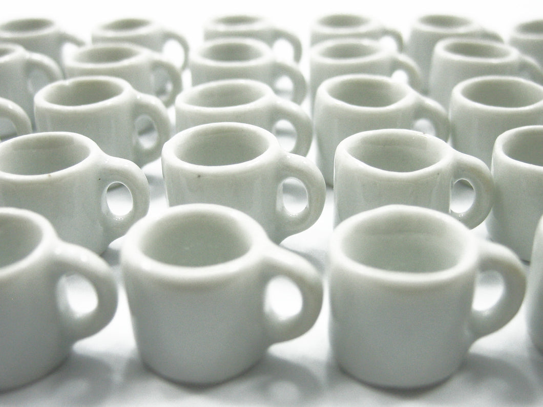 Set White Coffee Mug Tea Cup Dollhouse Miniature Deco Supply Ceramic #S