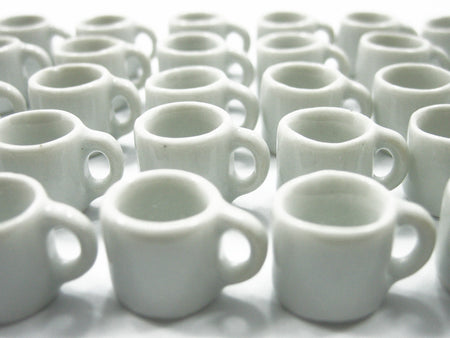 Dollhouse Miniature Supply Ceramic Set White Coffee Mug Tea Cups #M