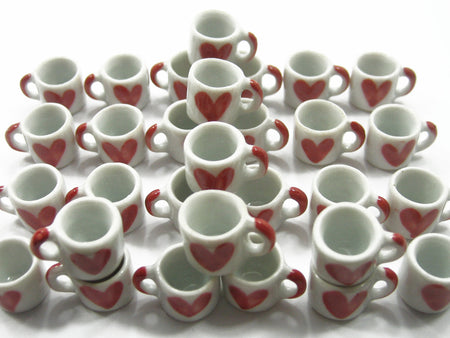 DollHouse Miniature NEW Heart Paint Ceramic Kitchen Coffee Mug #S Supply