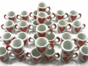 DollHouse Miniature NEW Heart Paint Ceramic Kitchen Coffee Mug #M Charms