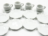 Dollhouse Miniature Ceramic 16 White Scallop Plate Dish Coffee Cup Saucer 6643
