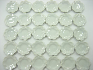 18mm White Scallop Plate Dish Dollhouse Miniature Kitchenware Ceramic