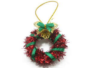 Dollhouse Miniature Christmas Decoration Red Wreath Holly Ornament Charms 7212