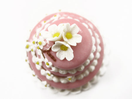 Doll House Miniature Food 3 Layer Wedding Cake Pink Mixed Flower Supply 7470
