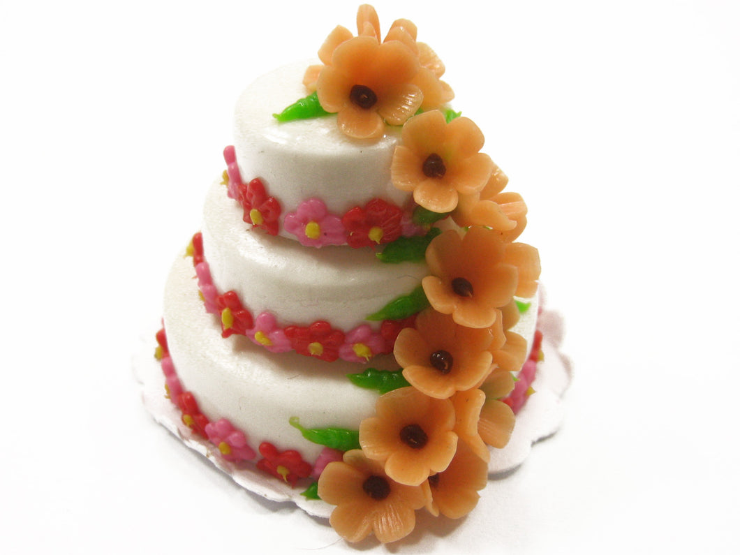 Dollhouse Miniature Food 3 Layer Wedding Cake White Creamy Flower Charms 7471