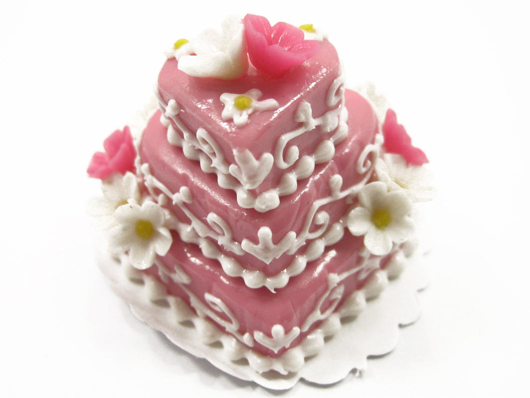NEW Dollhouse Miniature Food 3 Layer Wedding Heart Pink Cake Flower 7472