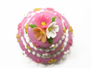 NEW Dollhouse Miniature Food 3 Layer Wedding Lilac Cake Color Flower Charms 7474