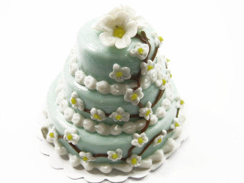 NEW Dollhouse Miniature Food 3 Layer Wedding Blue Cake Mixed Flower Supply 7475