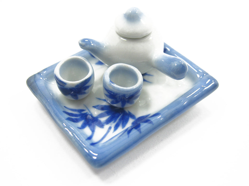 Dollhouse Miniature Paint Ceramic Japanese Teapot Cup Set Tray Plate Mug 8041