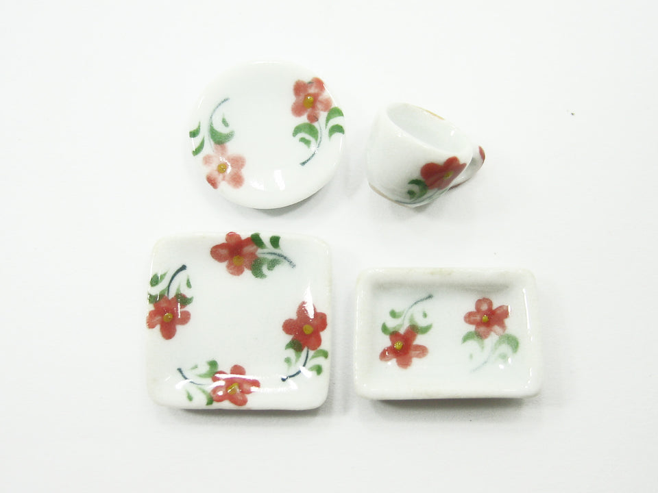 Dollhouse Miniature Ceramic 9/36 Flower Square Plate Round Dish Cup Saucer 8044